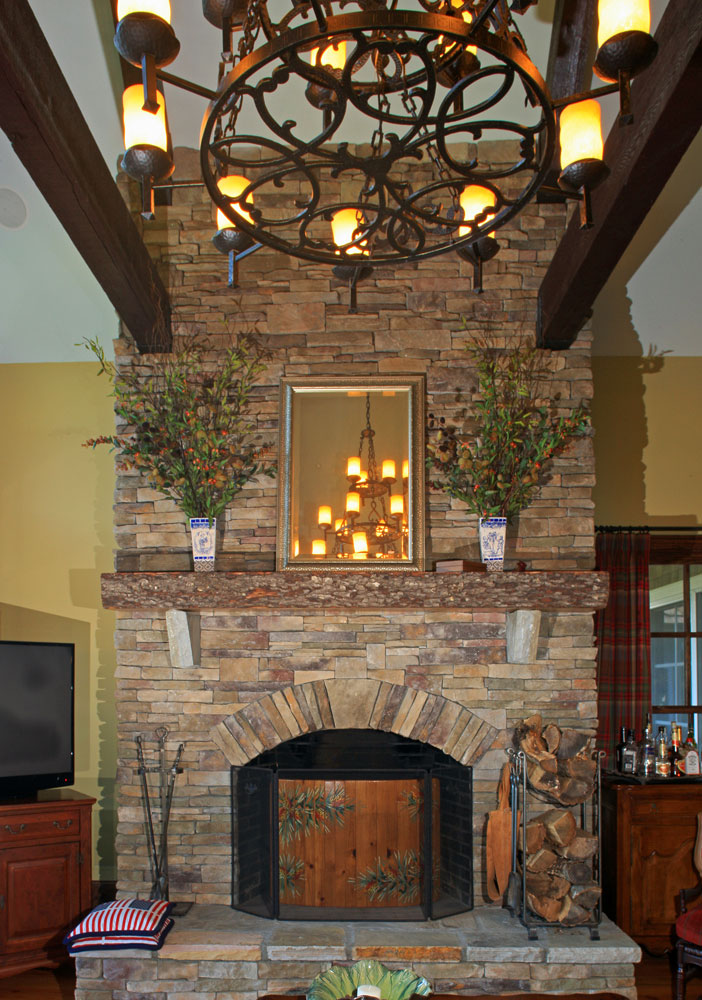 Living Room fireplace of custom designed home by Pavelchak Architecture in Blowing Rock, North Carolina, near Boone.