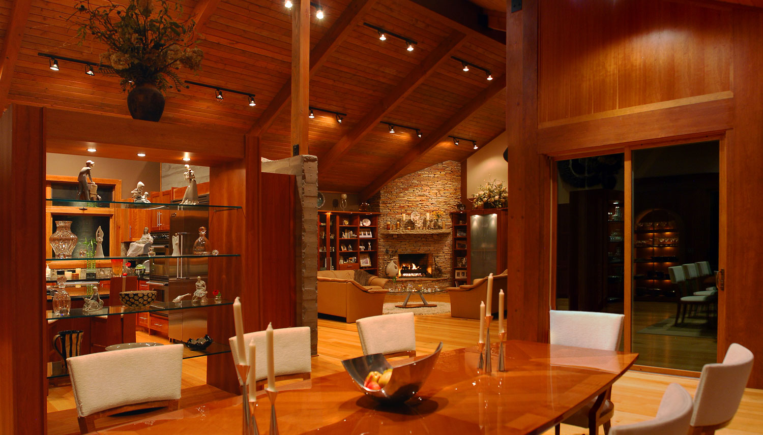 Dining room in a custom designed home by Pavelchak Architecture in Valle Crucis, North Carolina, near Boone