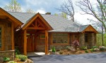 Front of custom designed home by Pavelchak Architecture in The Farm at Banner Elk, North Carolina, near Boone North Carolina.