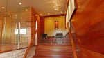 Pavelchak Architecture's entry staircase showcasing modern, clean design aesthetic with beautiful brazillian cherry and maple hardwoods.   Located in downtown Banner Elk, North Carolina near Boone.