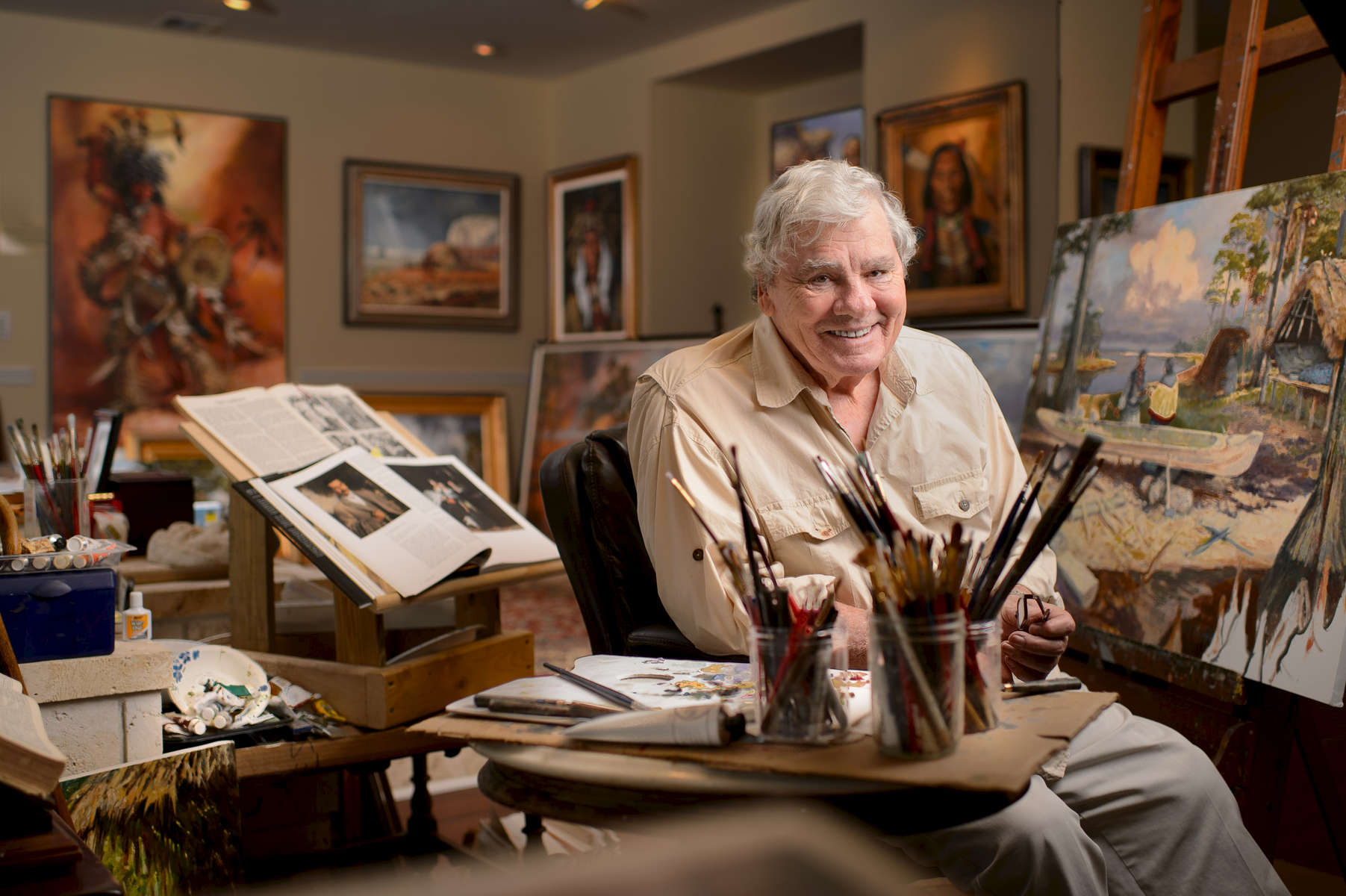 Artist James Hutchinson, Florida Artist Hall of Fame, photographed in his studio.
