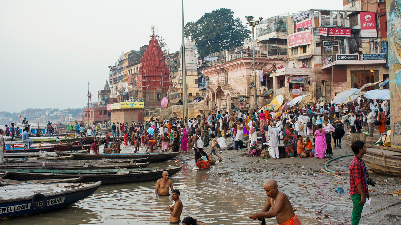 Early morning bathing ritual in Varanasi.  Recent flooding covered the stairs to the river in sand at depths of ten feet and more.