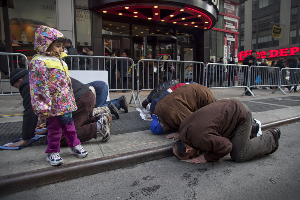 Arabs from around the New York City area went to Times Square on Feb. 26, 2011 to support and protest in favor of Libya.