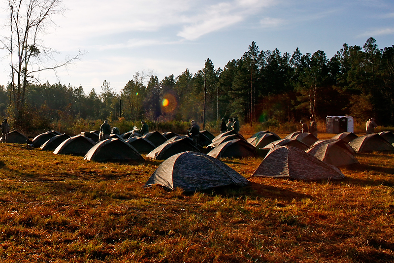 Tent city: Bravo Battery's home in the field.