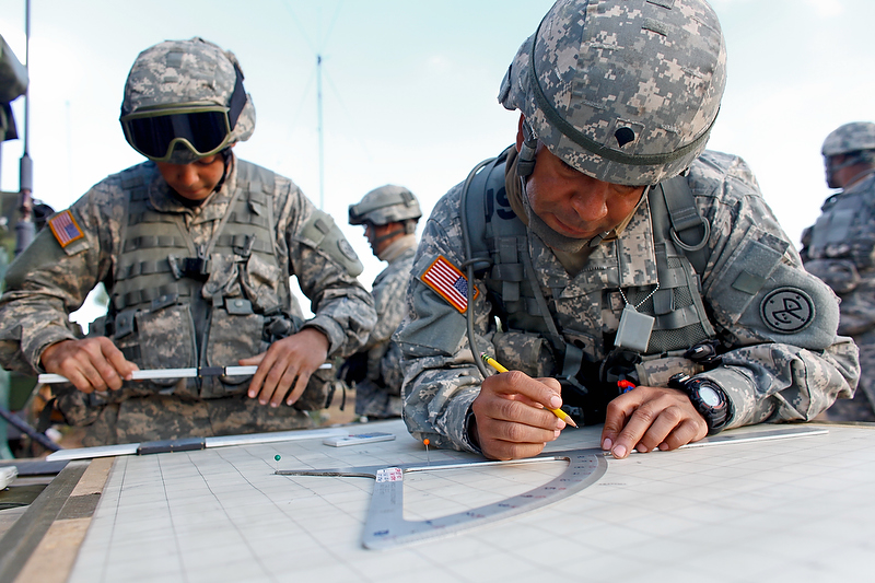 Spc. Veloz practices some map plotting.