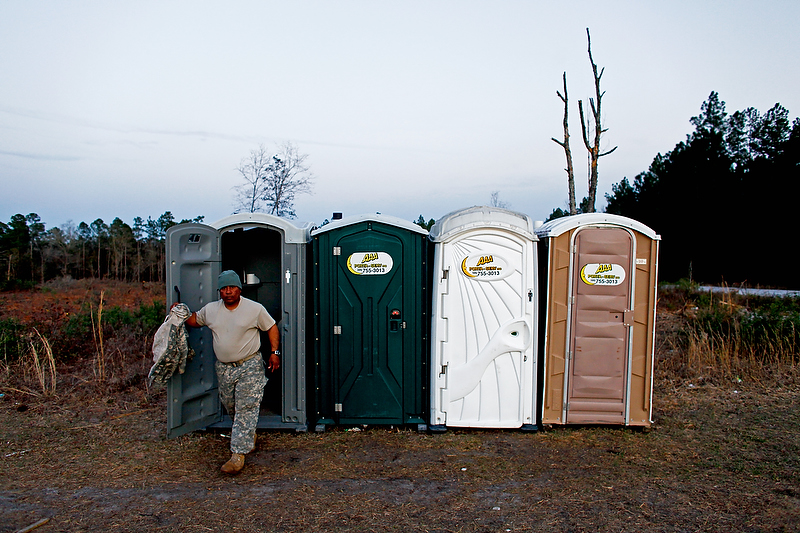 Lavatory facilities were limited to only porta-johns.