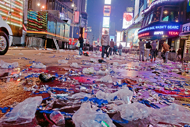 The Aftermath of Times Square NYE celebration.  Jan. 1, 2010.