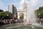 Children play in the fountain at Washington Square Park to beat the heat on Aug. 16, 2009.  The temperature hit 91 degrees fahrenheit.