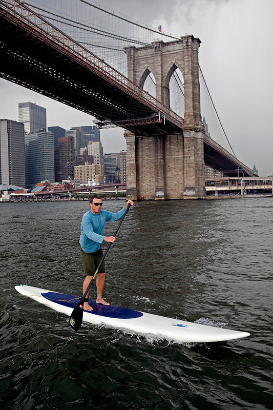 Kevin Horgan, a 45-year-old native of Newport, R.I., paddles around Manhattan on July 2, 2009.  Horgan planned on paddling for 24 hours straight to raise awareness for handicapped sailing.