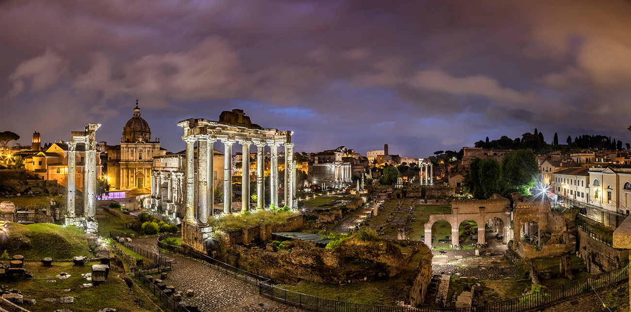 The Roman Forum after dark