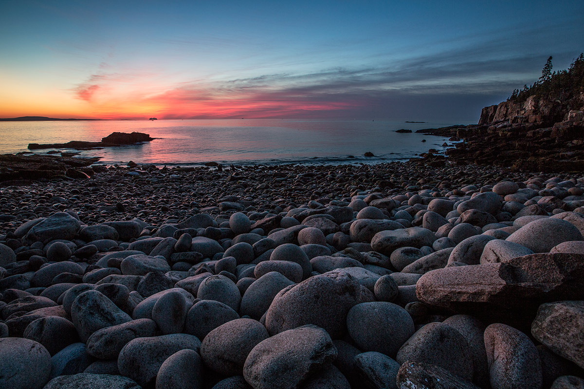 Boulder Beach at sunrise in Acadia, Maine