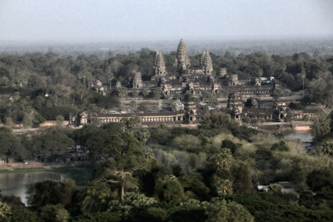 shooting from above Angkor Wat in a helium balloon