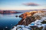 Sunrise in the town of Oia in Santorini, Greece