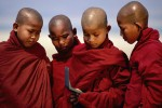 Young monks at sunrise