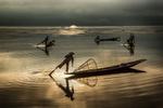 Inle Lake fisherman at sunrise