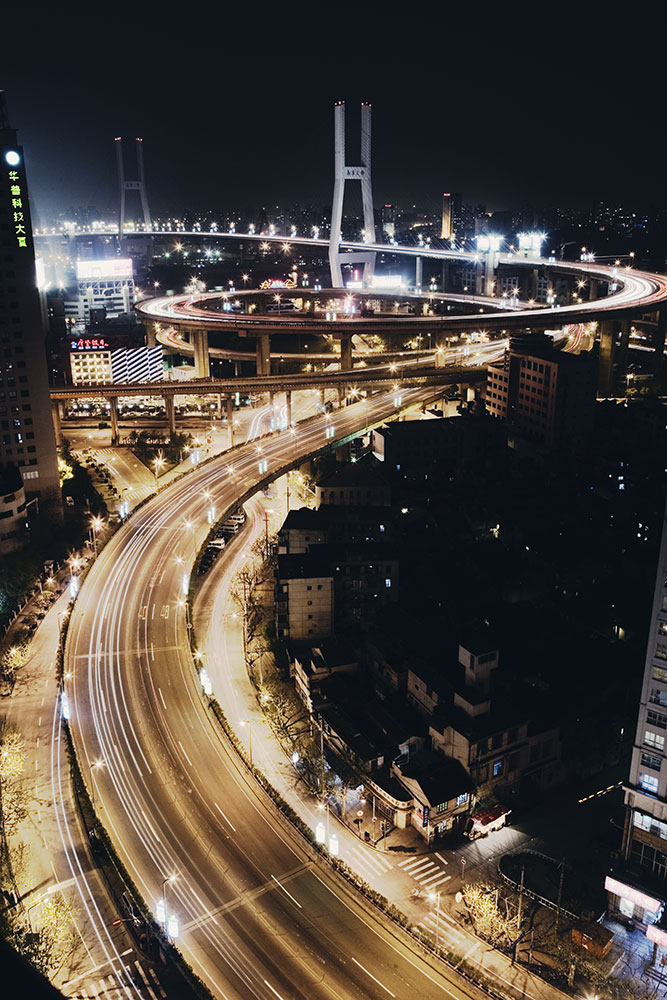 the gorgeous nan pu bridge at night