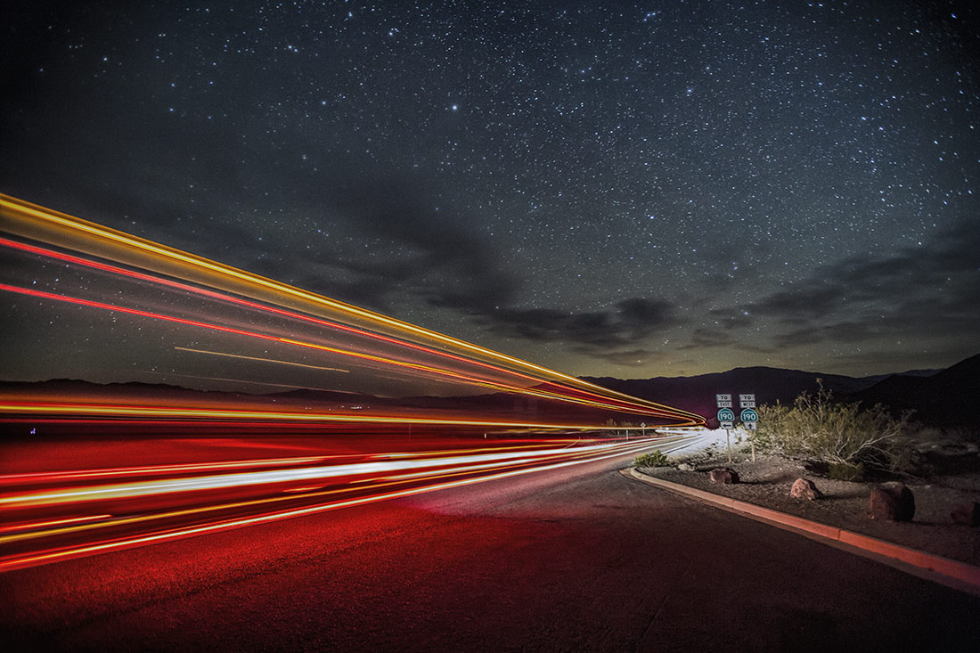 Semi truck trails in Death Valley