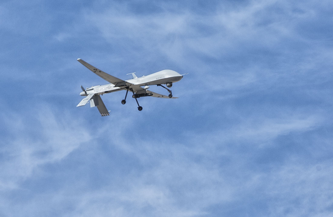 A drone flying overhead