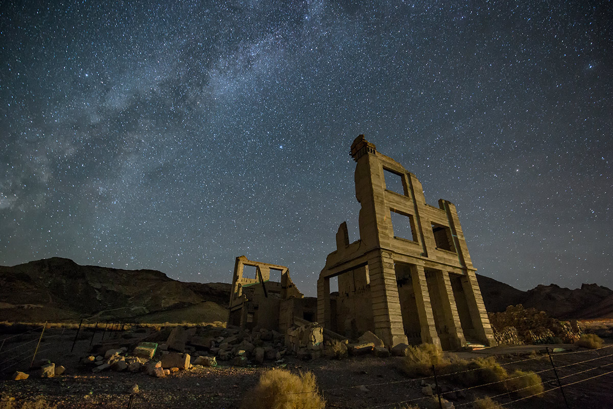 Rhyolite Ghost Town after dark