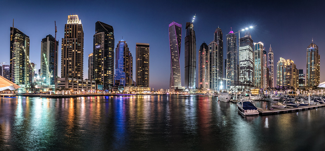 Dubai Marina after dark