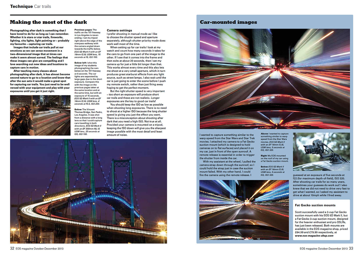 Article on car trails for EOS Magazine