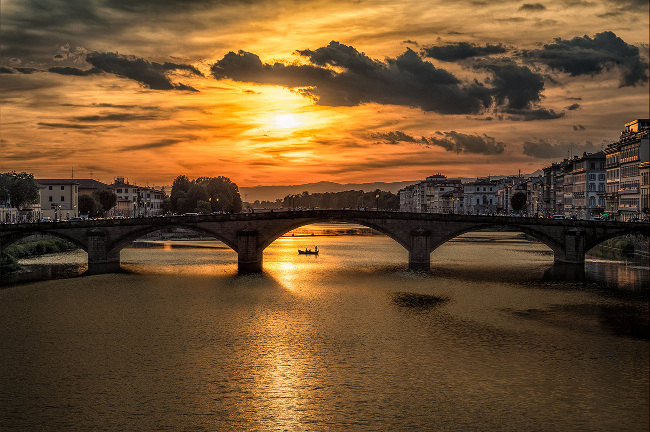 Sunset over the Arno in Florence