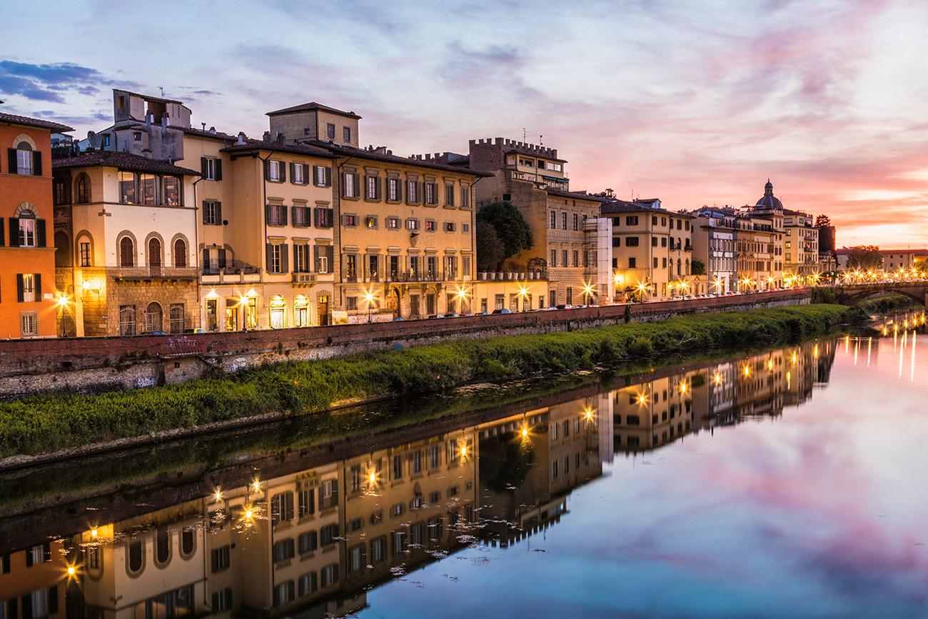 The Arno River after dark