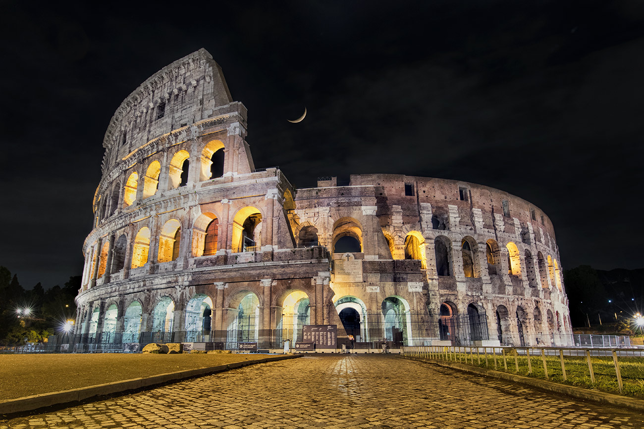 The Roman Coliseum after dark