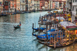 The gondolas of Venezia in the Grand Canal
