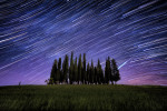 Star trails and giant meteor in Val D'Orcia