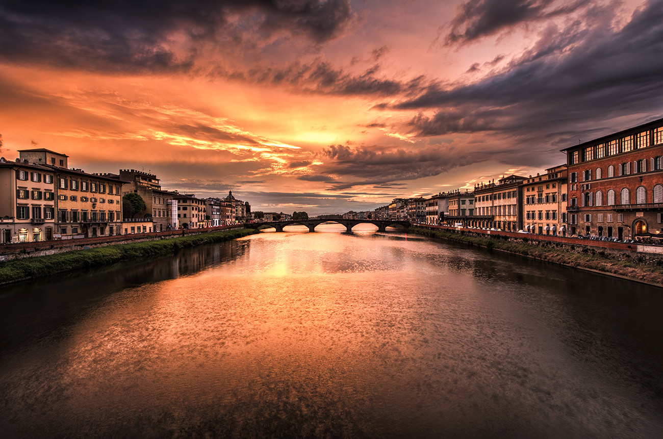 Sunset over the Arno River in Florence, Italy