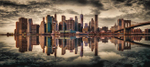 Panorama of New York City skyline at sunset
