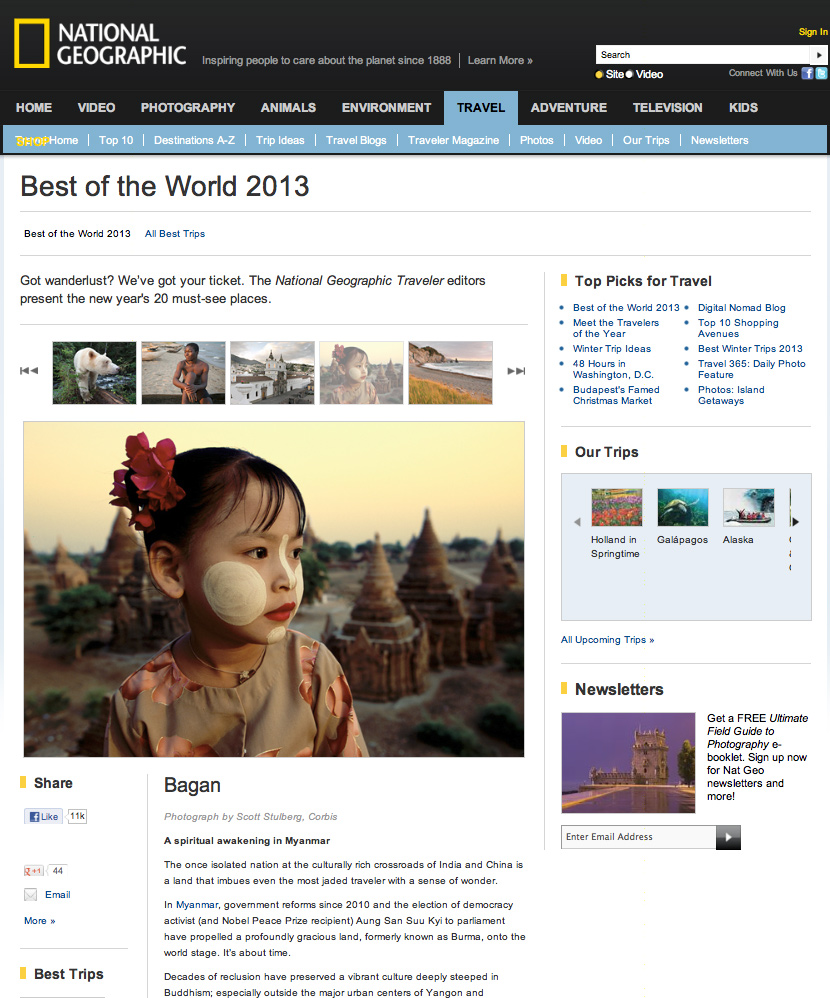 National Geographic Magazine article on Burma