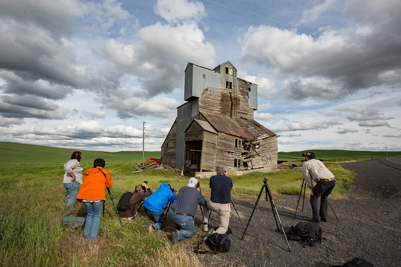 The group shooting the Monster grain elevator