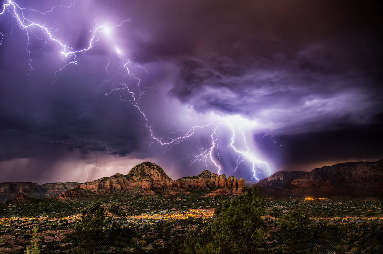Amazing lightning storm over Sedona