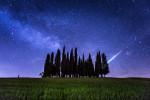 Meteor and Milky Way over Tuscany