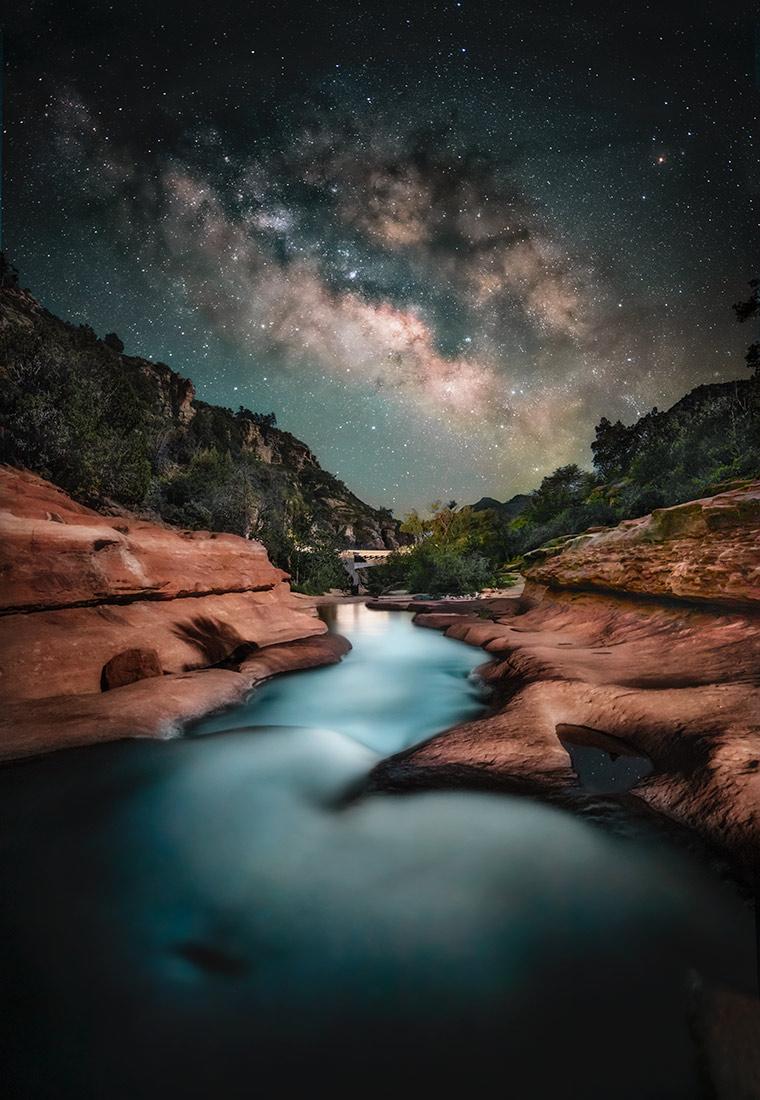 The Milky Way over the Oak Creek River in Sedona