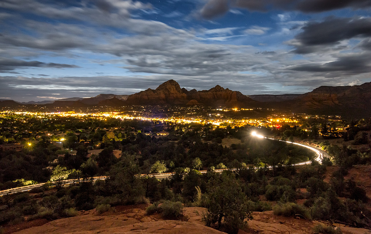 Sedona after dark from above