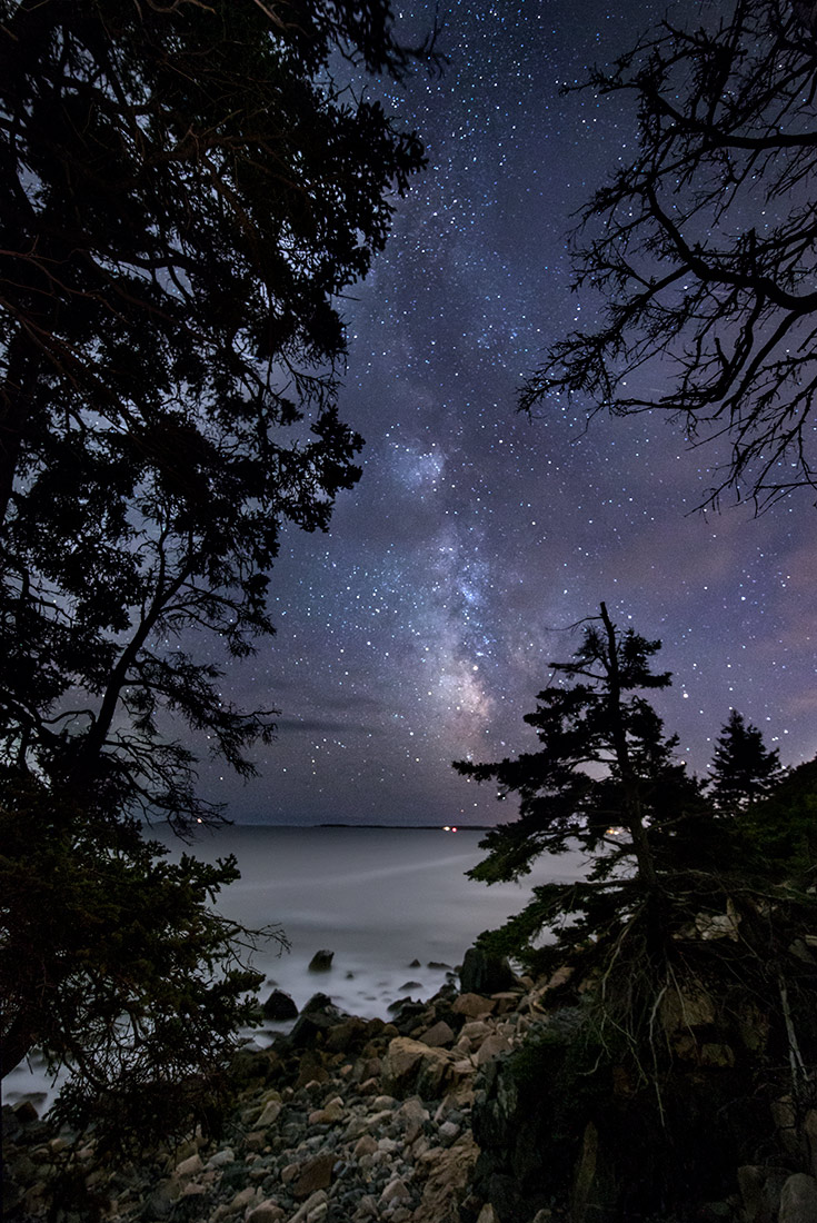 The Milky Way and the coast of Acadia