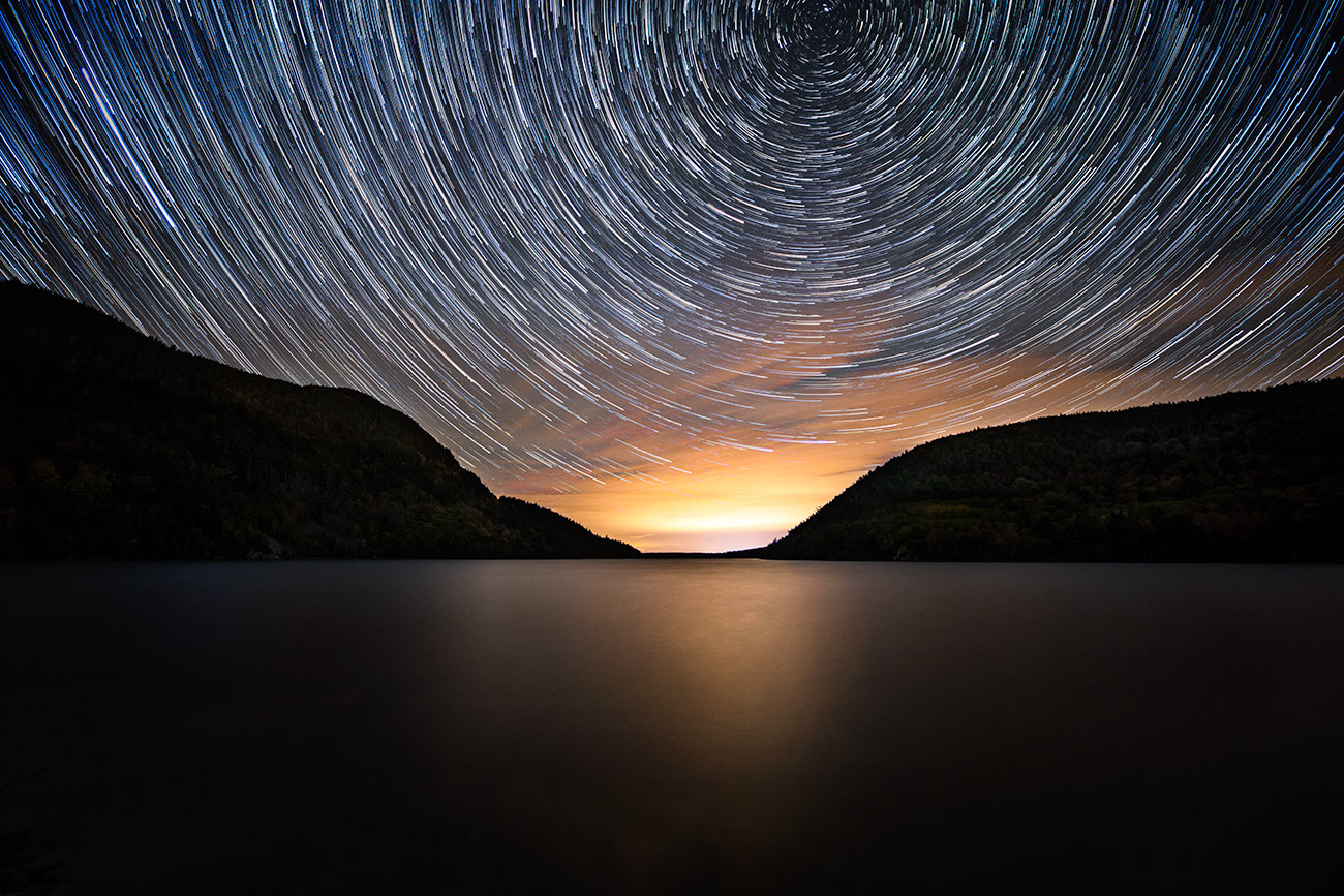 Star trails over Acadia