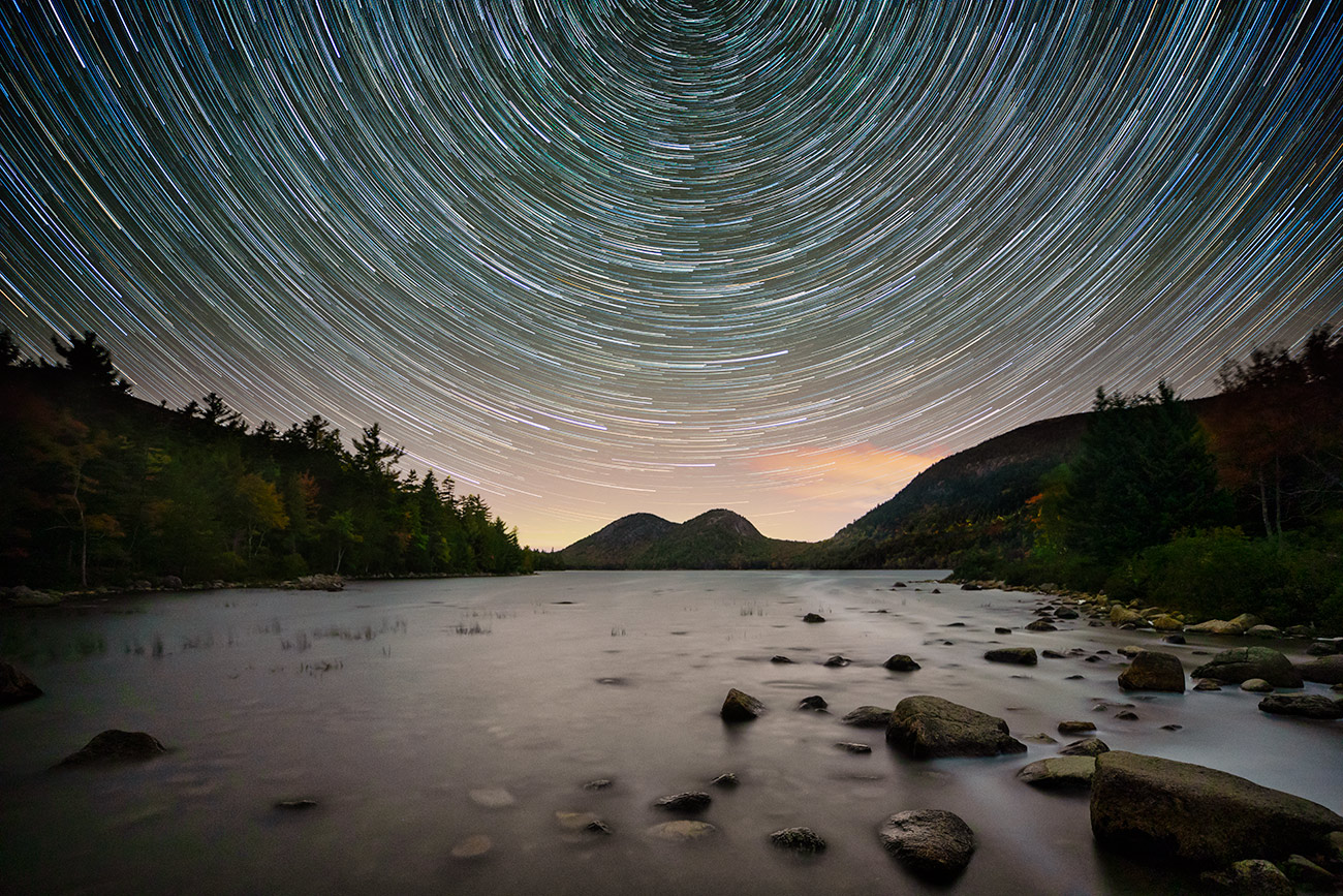Star trails over Jordan Pond in Acadia