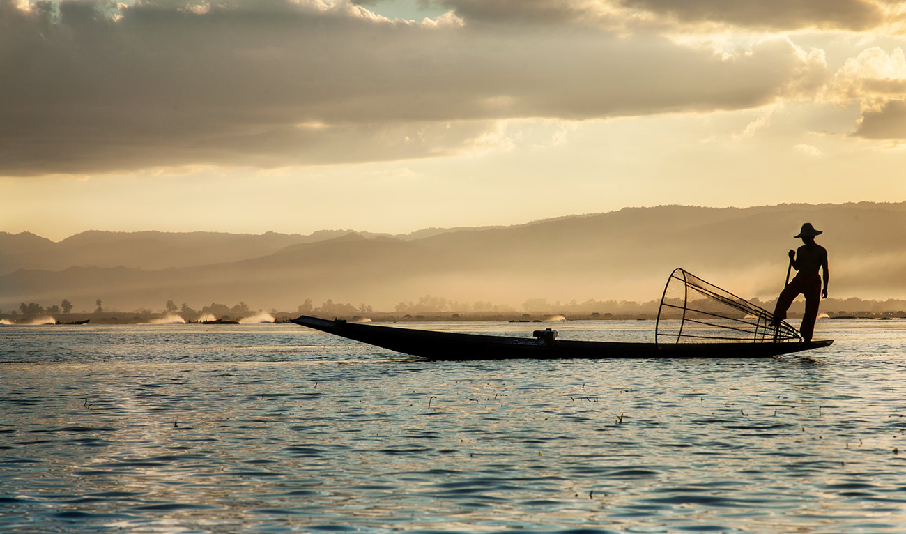 Longtail boat on Inle Lake, Burma