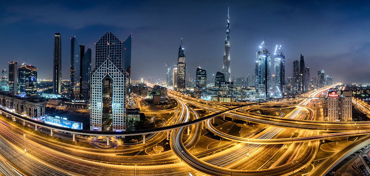Burj Khalifa and interchange in Dubai