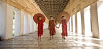 Burmese monks in their monastery