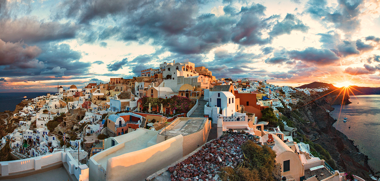 Oia, Santorini, Greece at sunset