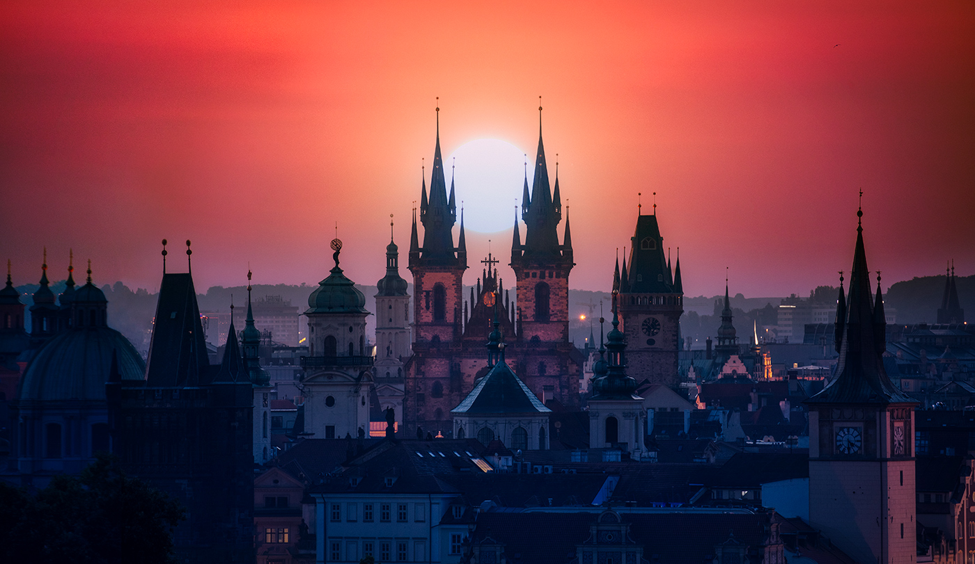 View of Prague from above at sunrise