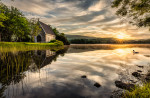 Church and swan at sunrise in Ireland