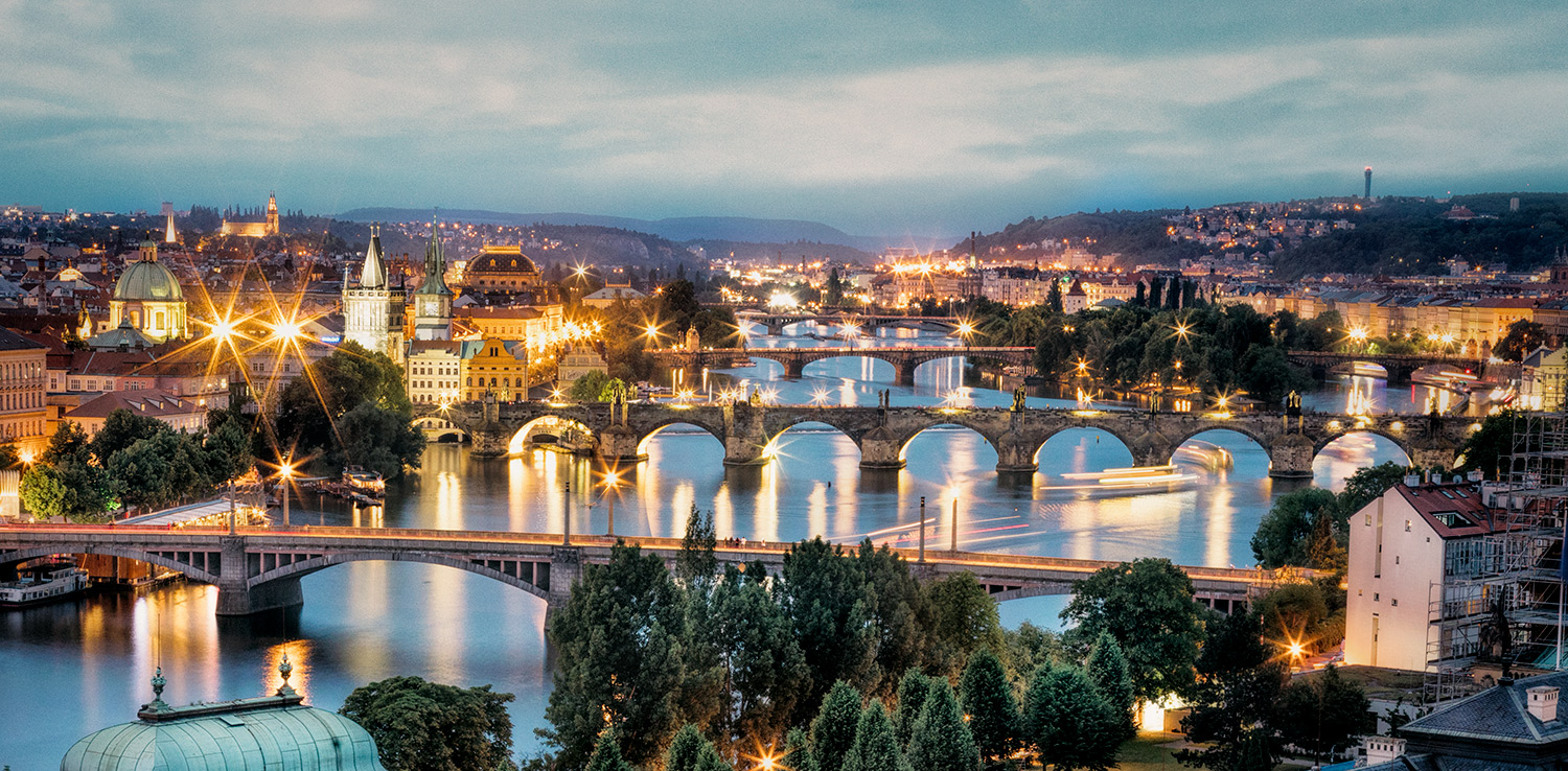 Beautiful Prague from above after dark