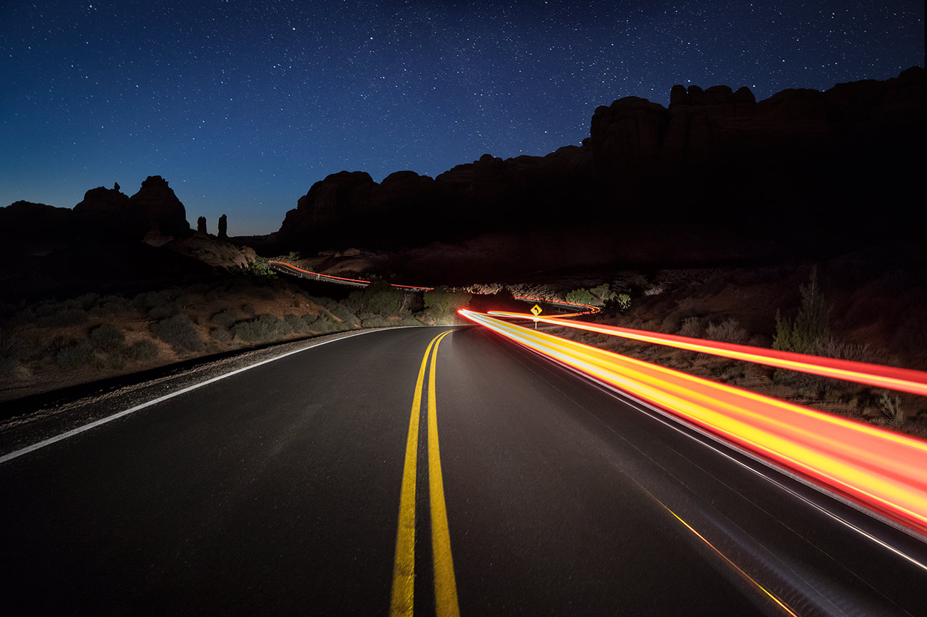 Car trails in Arches National Park, Moab, Utah
