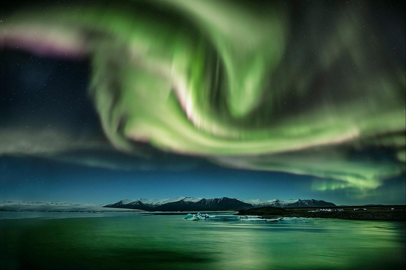 Aurora Borealis in Jokulsarlon Lagoon, Iceland